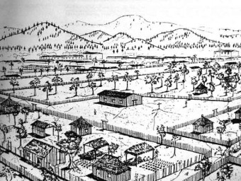 San Jerónimo barrio as it appeared in the 16th century, with 1a calle in foreground (USAC)