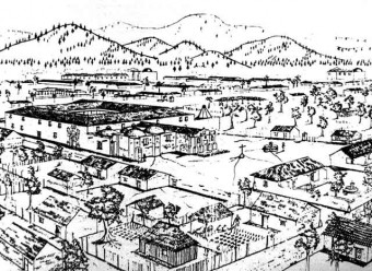 San Jerónimo barrio in 1773, with school built around plaza behind church (USAC)