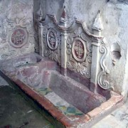 Sister Juana's 17th century bathtub with revived colors (photo: Jack Houston)