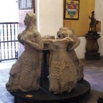 "Original sculpture of the ""Sirens of the Fountain,"" by Mayor Diego de Porras, damaged in the 1773 earthquake."