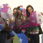 Kite workshop graduates display their creations at the Nahual Foundation