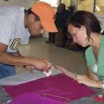 A project underway at the kite workshop, Nahual Foundation