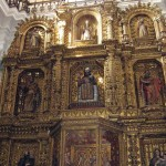 Baroque altar inside La Merced Church, Guatemala City