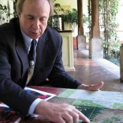 Dr. Richard Hansen, Mirador Basin Project director, discusses location of the region