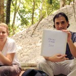 Sarah Newman (Brown University graduate student) and Lic. Edwin Román, Guatemalan Co-director of the El Zotz Project, having their lunch break just outside the tunnel leading to the stucco masks and the Royal Tomb. El Diablo, El Zotz, Petén.