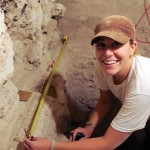 Sarah Newman drawing excavation profiles. El Diablo, El Zotz, Petén.