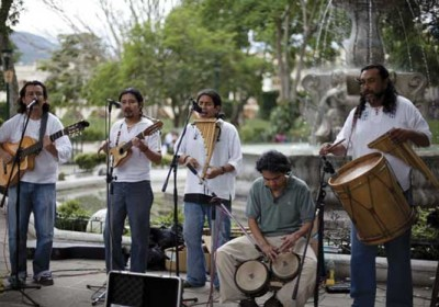 Grupo Sol Latino playing at La Antigua Guatemala's Central Park (photo by Pinar Istek)
