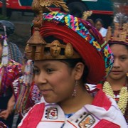 Girl from Santiago Atitln in ceremonial attire with Maximn headdress by Thor Janson