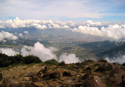 View of Quetzaltenango from the summit of Volcán Santa María (photo by Kristen Moser)