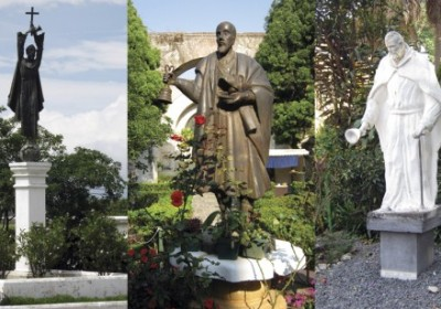 Monuments of Santo Hermano Pedro are rare on Tenerife, but there are several in La Antigua: (left) at the entrance to town, (center) in the garden of San Francisco Church, outside of the tomb where his remains lie, (right) at El Calvario Church where he first lived in Guatemala