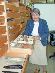 Archaeologist Marion Popenoe Hatch  with some recent findings