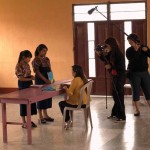 Elba Velázquez and Emelin Cabrera, Guatemalan girl leaders shooting a scene from ¡PODER! with the filmmaker Lisa Russell and AGALI Fellow Juany García Perez. (Enrique Zabaleta)