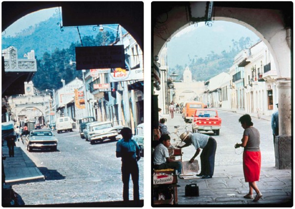 Before (1971) and after (1973) photos of 5a avenida, La Antigua showing how prevalent the business signs were
