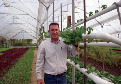 Hydroponic systems expert Guy Christopher inspects some crops