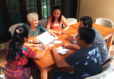 Sue Patterson dicusses ideas with youths